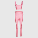Pink Contrast Two Piece Set