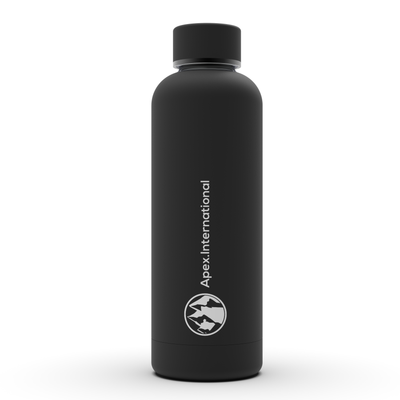 stainless steel thermal hiking water bottle | Jet Black | Apex International