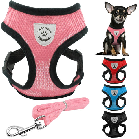 Soft Breathable Mesh Vest Harness For Dogs With Leash