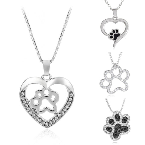 Dog Castle Heart of Love Silver Paw Print Necklaces