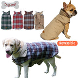 DogCastle Waterproof Windproof Reversible Dog Jacket British Plaid Design for Small and Large Dogs