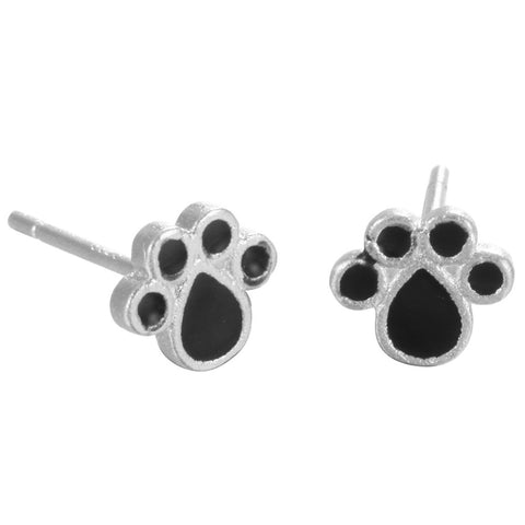 Dog Castle Black Paw Print Ear Rings Accessories For Women