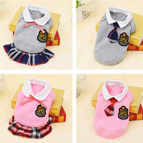 Cute For School Student Design Outfit For Small Dog With Tie