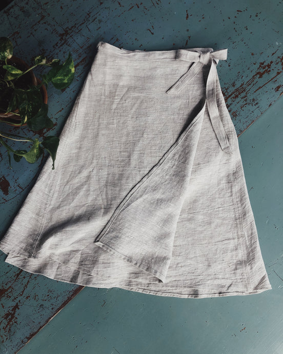 Linen Wrap Tulip Skirt