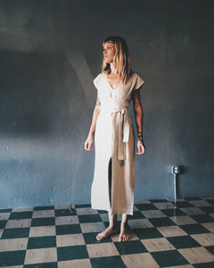 Linen Natural Caftan with Strap
