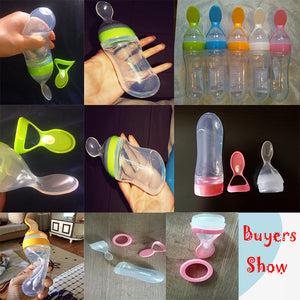90ml Baby Feeding Bottle (Silicone) with Spoon in 3 different Colors