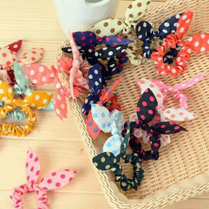 10pc Polka Dot Assorted Rabbit Ear Bow Ponytail Holders