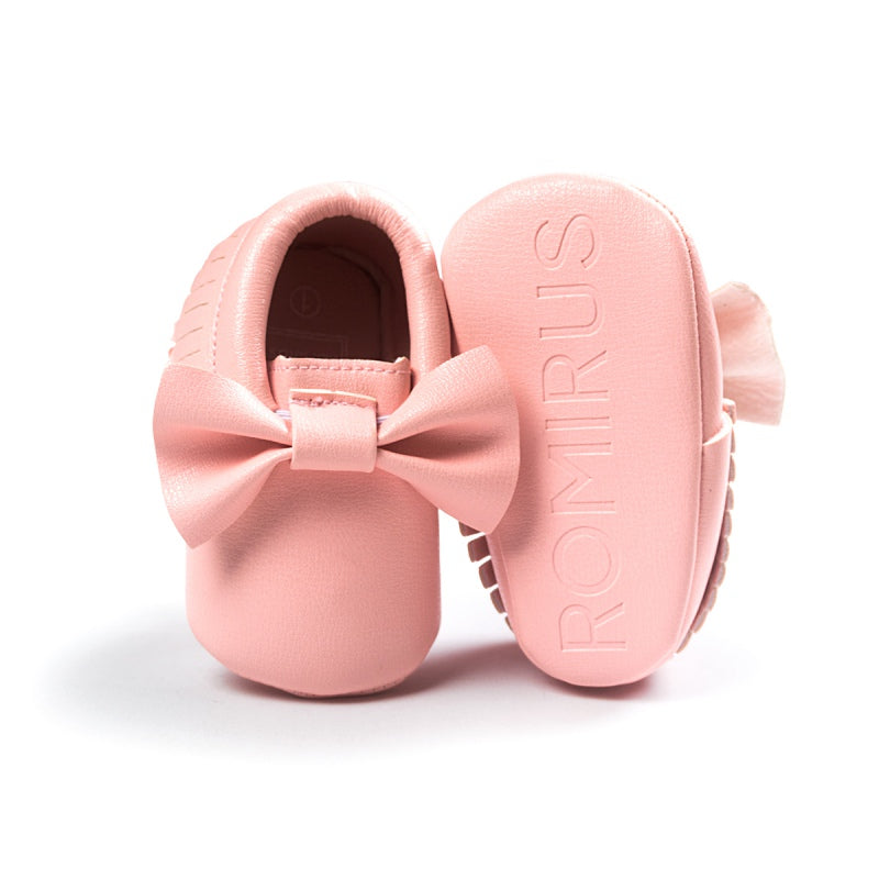 Baby Girl Bow-knot Crib Shoes - Moccasin Leather Princess Shoes 0-18 Months