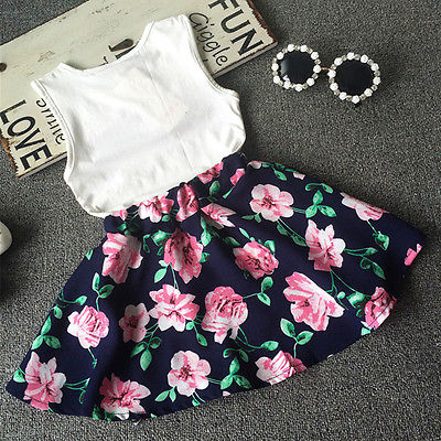 2PCS  Kids Baby Girls Toddler T-shirt Tank Tops and  Skirt Dress Set Outfits Clothes
