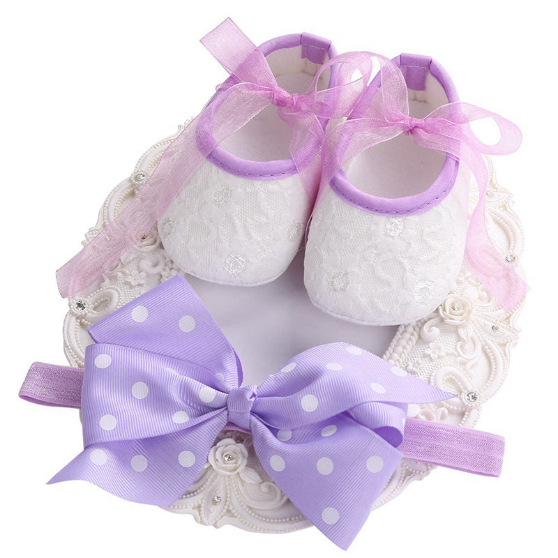 First Walker Bow-knot Princess Ballerina Booties Headbands Set