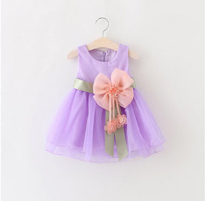 2017 Baby Girls Dress Big Bowknot Infant Party Dress For Toddler Girl First Brithday Baptism Clothes Double Formal Tutu Dresses