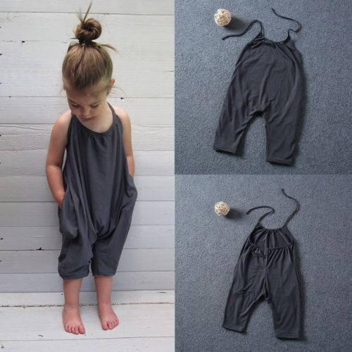 Baby Girl Cotton Romper Jumpsuit Harem Pants For Summer