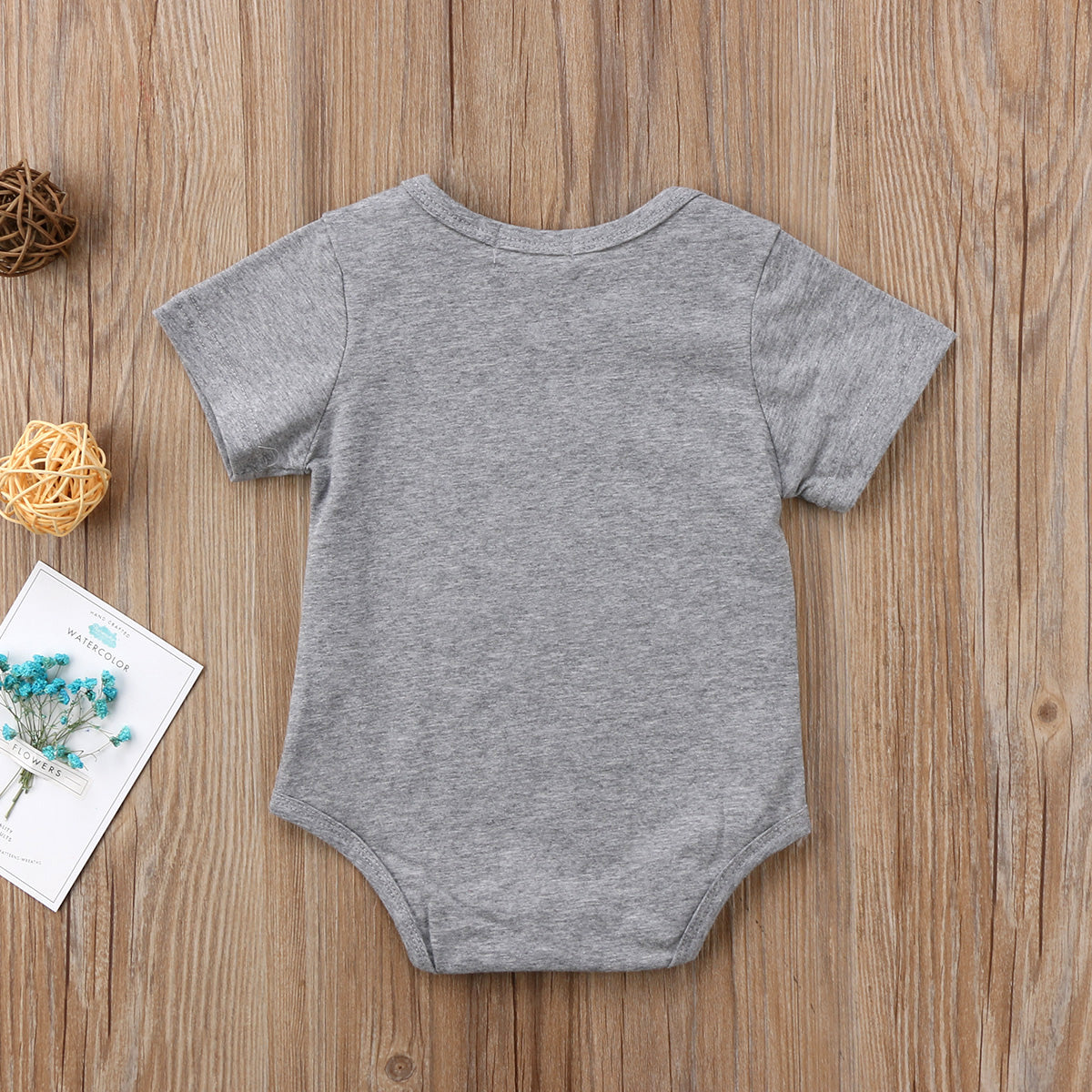 Gray Coloured Short Sleeved Crazy Jumpsuit Cotton Outfit for 0-24M Newborn