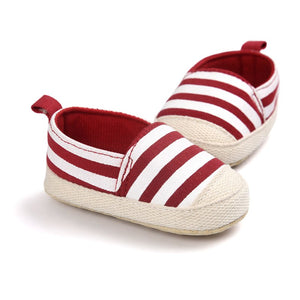 Baby Boy Striped Soft Sole First Walkers Crib Shoes