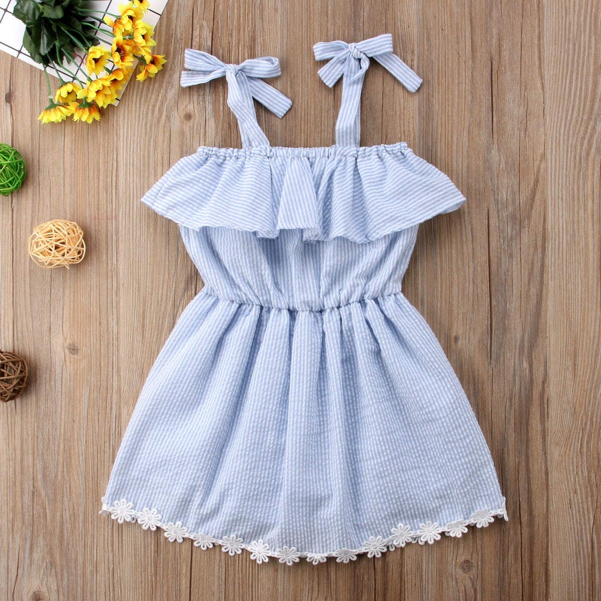 Cute Lace Flower Blue Striped Romper Sundress For Baby Girl