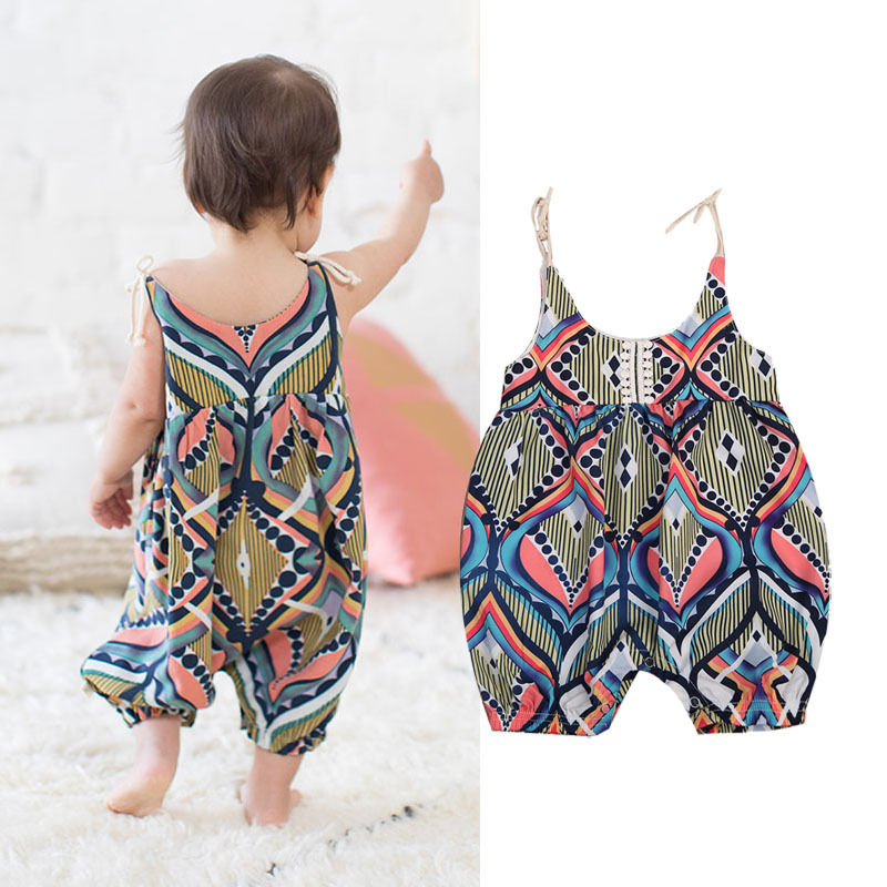 Floral Stripe Sleeveless  Boho haren Romper Pants for Baby Girls
