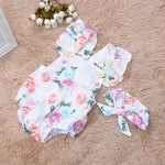 Summer Sunsuit+Headband Cotton Floral Romper Set for Baby Girls