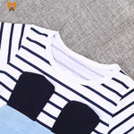 Princess Girl Short Sleeve Dress - Striped Casual Dress For Girls