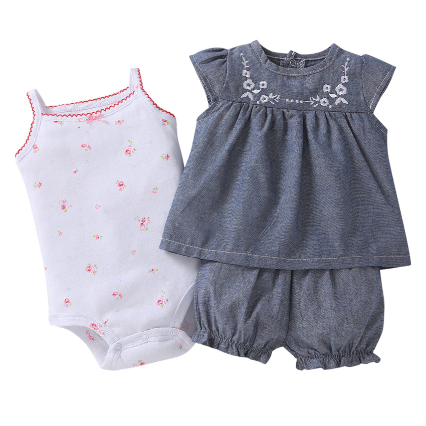 Special Offer New Arrival Cotton Fleece 3 piece set (Dress And Romper)