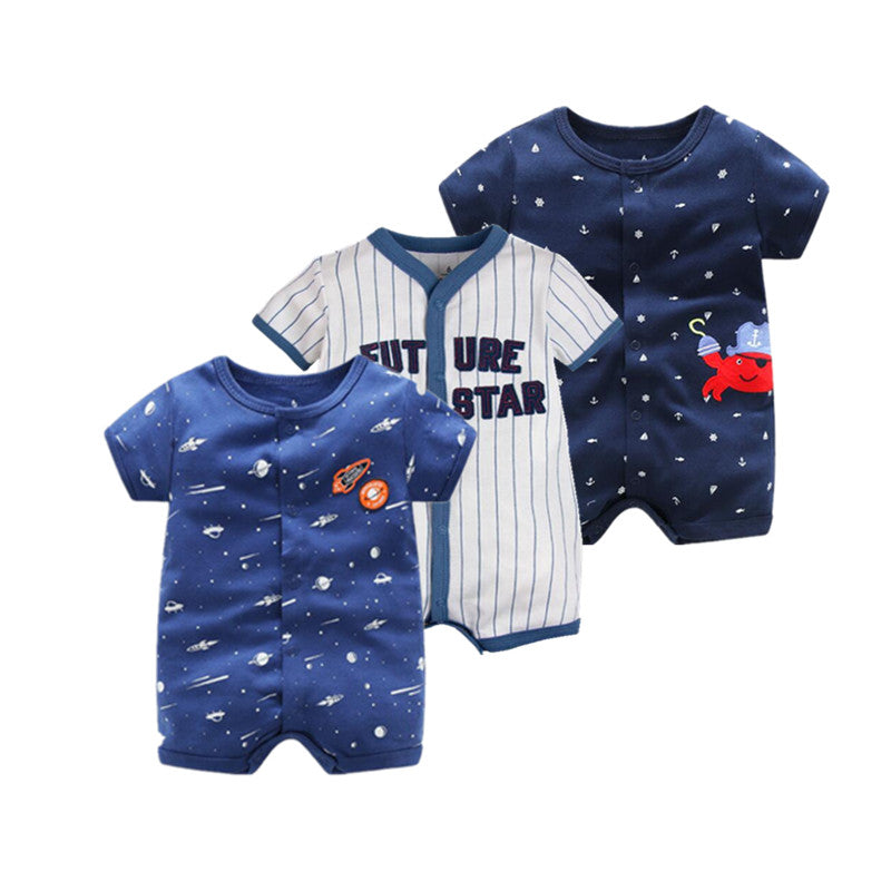 Summer Season Short Sleeved Character Printed Rompers For 0-24M Babies