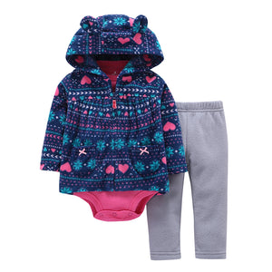 3Pc Baby Boy/Girl Cotton Hood + Cardigan + Trouser Clothes set