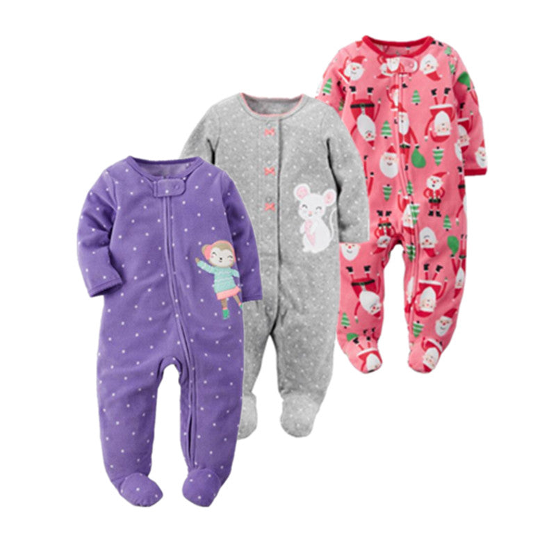 Soft Fleece One piece Jumpsuit Pajamas for Baby Girls