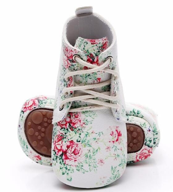 Floral Style Hard Soled Lace Up Leather First Walkers