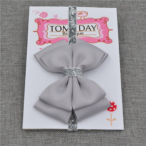 22 Color Baby Silver Ribbon Flower Headband