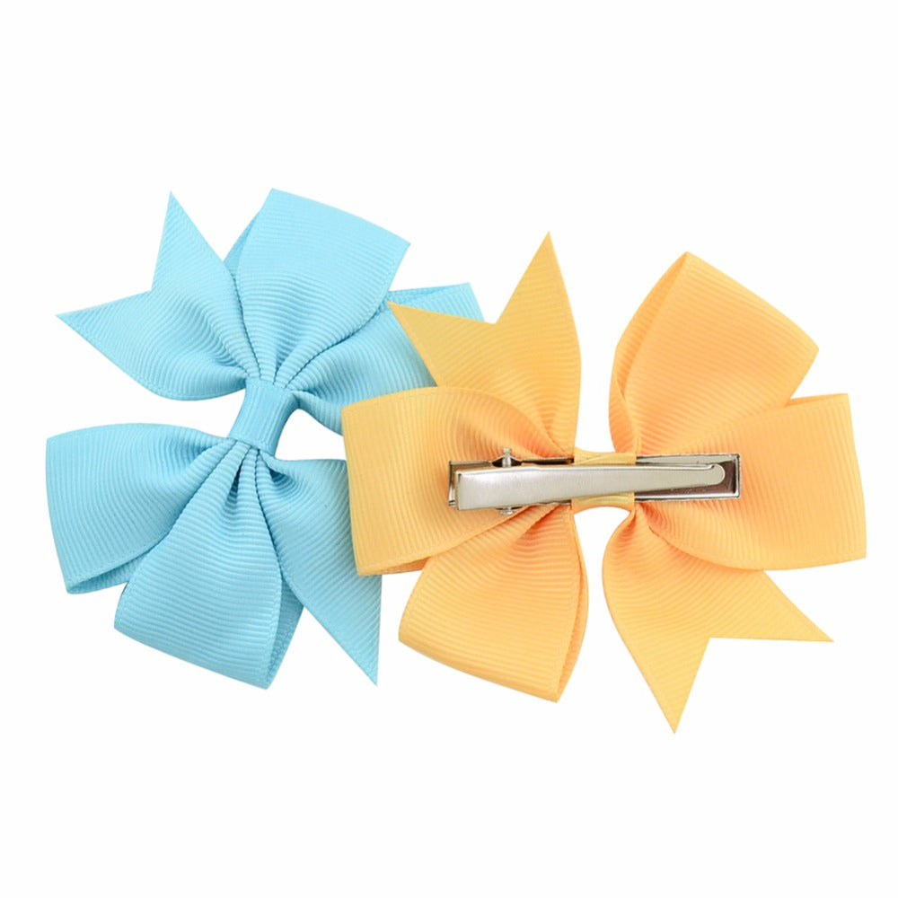 Solid Grosgrain Ribbon Girl Bow Clips - in 20 or 40 piece sets