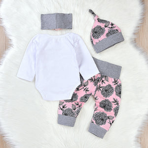 4pcs Floral Designed Long Sleeved Romper Tops, Pants, Headband and Hat Set