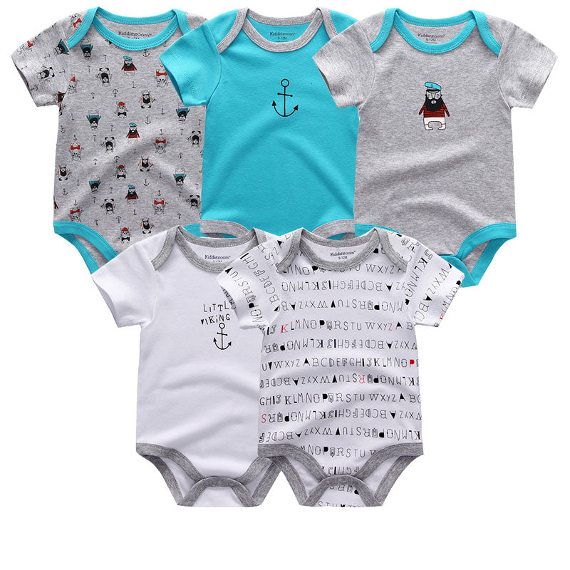 Unisex Short Sleeve Baby Rompers Short Sleeve (5 pieces set)