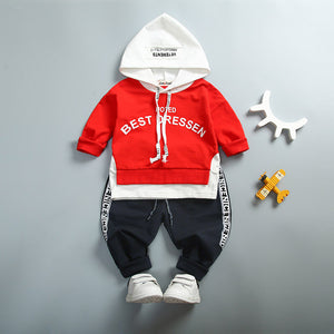 High Quality Cotton Long Sleeved Suit(Letter Hooded) for Spring Season
