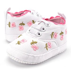 Floral Embroidered White Lace Soft Prewalker Shoes For Toddlers