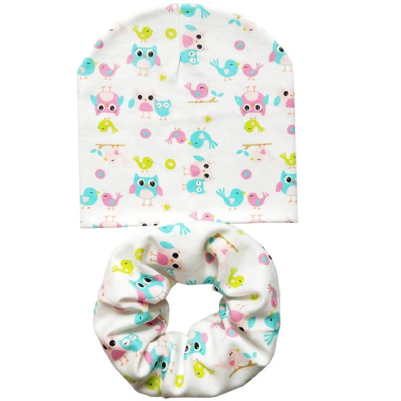 Cartoon Printed Hat+Cotton Collar Scarf for Baby by Beanie Hats
