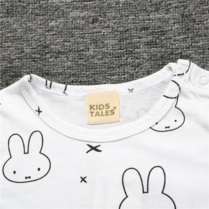 Rabbit Designed Short Sleeved Summer Rompers by Bebe De Roupa