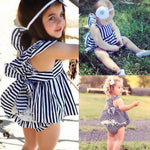 2pcs Backless Dress+Bow Cotton Brief Summer Clothing Ouufit(Striped)