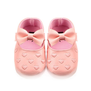 Big Bow Embroideried Non-slip Soft Soled Pu Leather Crib Shoes for Toddler Girls