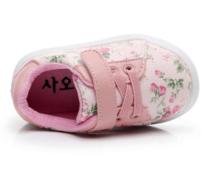 Baby Girl Flower Print Soft Leather Sneakers