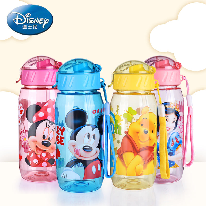 400ml Mickey Minnie Feeding Bottle With Lid + Straw + Cup