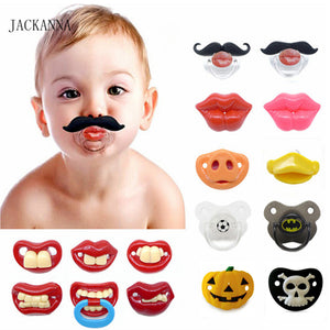 Food Grade Silicone Funny Baby Pacifiers Dummy Nipple Teethers Toddler Pacy Orthodontic Soothers Teat for Baby Pacifier Gift 1PC
