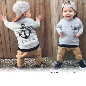 2pcs Long Sleeved Fall Letters T-shirt+Pants Children Navy's Clothing Set