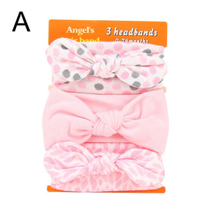 Dots Knotted and Flower Bow Knot Turban Elastic Hair Bands