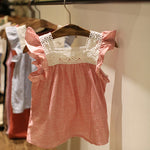 Lace Splicing Cotton Soft Blouse Casual T-shirts for Baby Girls
