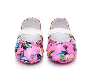 Hot sell floral style soft sole pu leather baby girls princess shoes baby moccasins mary jane dress shoes first walkers