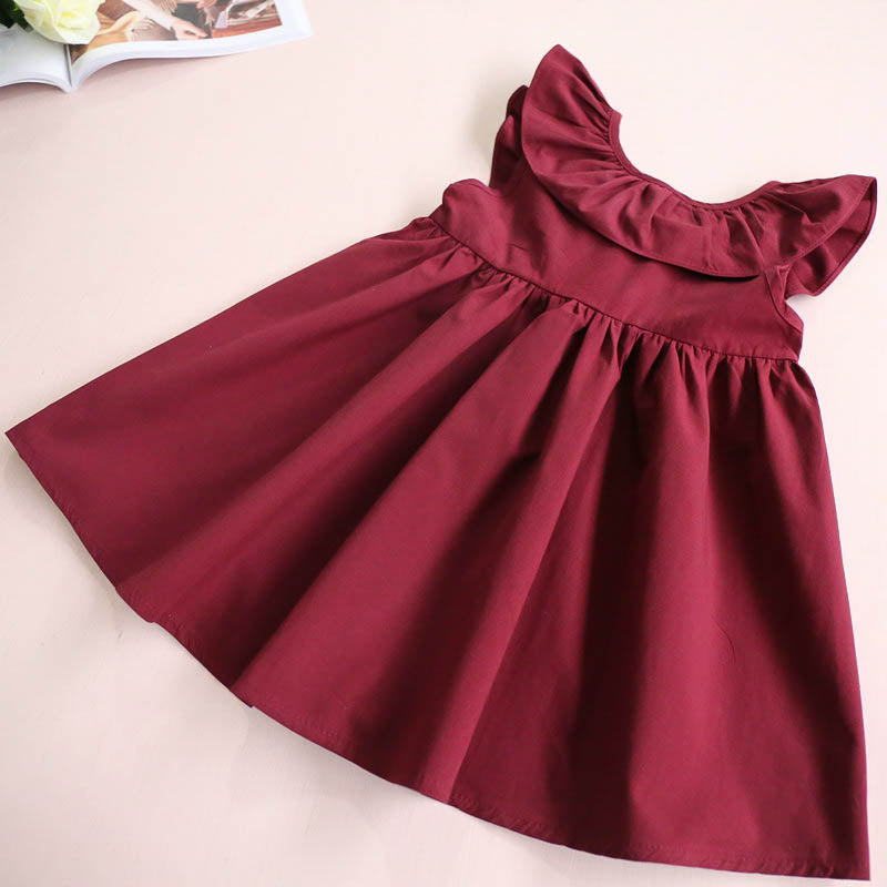 Fly Sleeve Casual Girl Sleeveless Cotton Dress