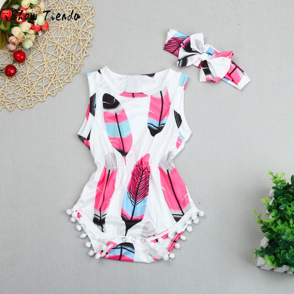 2pcs Printed Romper+Headband tassel Overalls Clothing Set for Girls