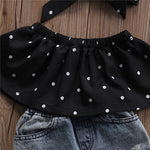 3pcs Dot Sleeveless Top+Vest Hole Denim Pant+Headband clothing Set for Girls