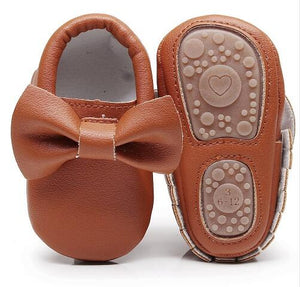 Lovely bow hard sole toddler moccasins first walker shoes PU leather baby girls shoes fashion infant first walking shoes