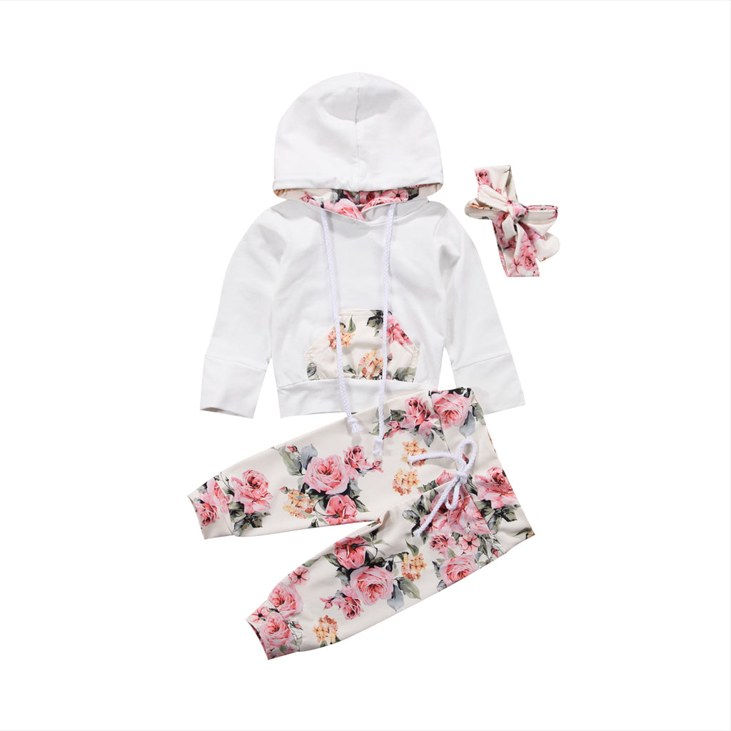 Long Sleeve Hooded Sweatshirt+Floral Pants Tracksuit Set for Baby Girls