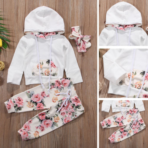 New Infant Baby Girls Clothes Set Long Sleeve Hooded Sweatshirt Tops+Floral Pants Outfits Set Tracksuit 0-24M